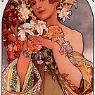 'Flowers' by Alphonse Mucha (Reproduction) by Roz Abellera Art Gallery