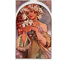 'Flowers' by Alphonse Mucha (Reproduction) Photographic Print