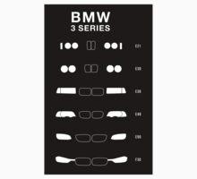 Bmw 3 Series history, 1982-Present day (E30, E36, E46, E90, F30) Sticker by ApexFibers