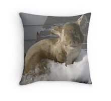 Pig on Ice Throw Pillow