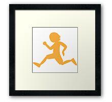 Runner running male shape Framed Print