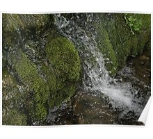 Mossy Rocks Waterfall Poster