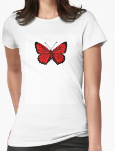 Orange Butterfly Womens Fitted T-Shirt