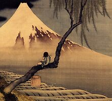 'Boy In Front Of Fujiama' by Katsushika Hokusai (Reproduction) by Roz Abellera Art Gallery