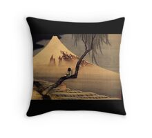 'Boy In Front Of Fujiama' by Katsushika Hokusai (Reproduction) Throw Pillow