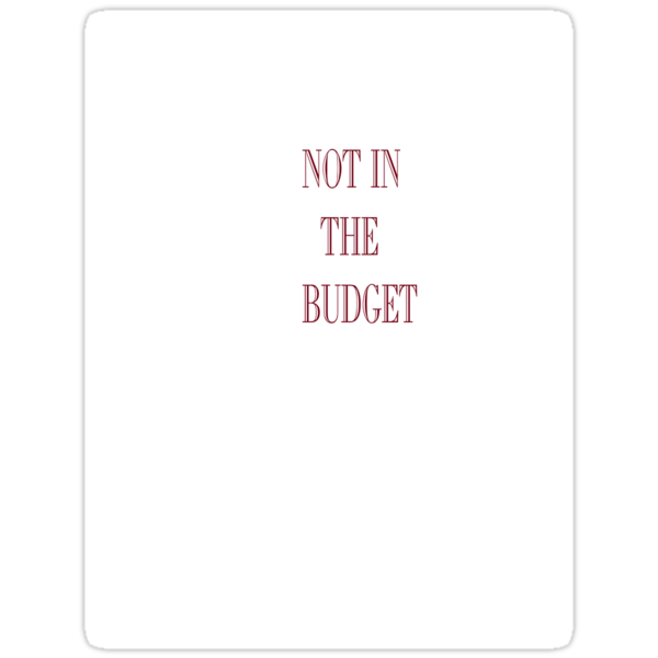 Not in the budget by Elenne Boothe