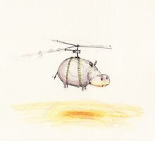 Mr Hippopotamus go for a helicopter ride by 15mindrawings