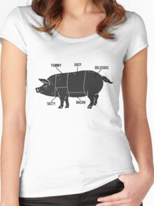 Funny Pig Butcher Chart Diagram Women's Fitted Scoop T-Shirt
