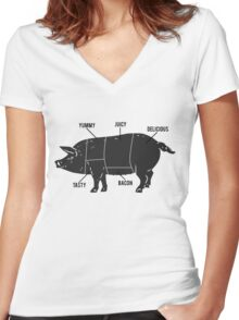 Funny Pig Butcher Chart Diagram Women's Fitted V-Neck T-Shirt