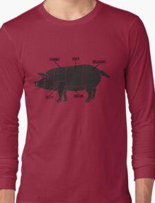 Funny Pig Butcher Chart Diagram Long Sleeve T-Shirt