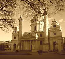 Karlskirche, Vienna in sepia by AngelaClaire