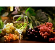 Glass and Grapes Photographic Print