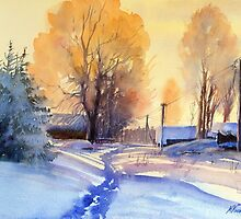 Winter light. Village. Russia by Misha Kuznetsov