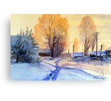 Winter light. Village. Russia Canvas Print