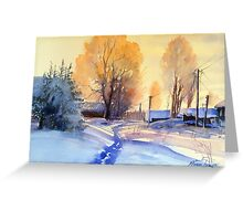 Winter light. Village. Russia Greeting Card