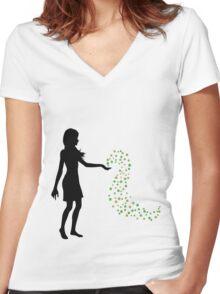 Fridays Child (black) Women's Fitted V-Neck T-Shirt