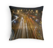 Warsaw Poland Traffic at a tram halt below the new City Stare Miasto. Throw Pillow