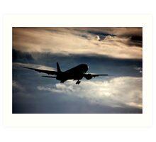 Airliner landing approach Art Print