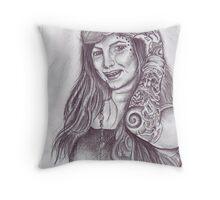 portrait of a tattoo artist Throw Pillow