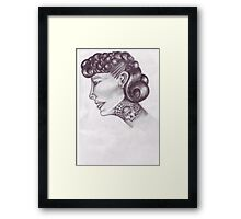 tattooed lady 50s style  Framed Print