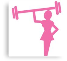Woman shape in pink lifting weights Canvas Print