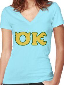 Oozma Kappa - monsters university frat  Women's Fitted V-Neck T-Shirt