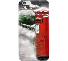 Traditional Christmas Illustration: Red Post Box in Snow iPhone Case/Skin