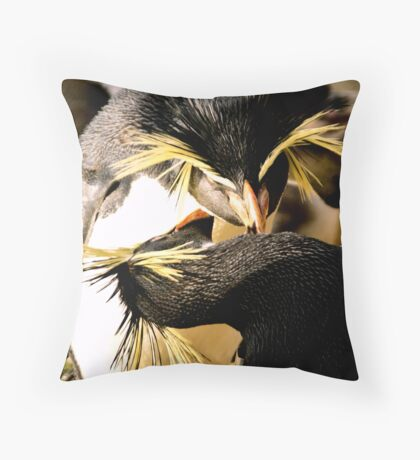 Penguins cleaning Throw Pillow