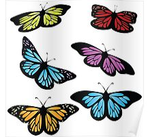 Colored butterflies Poster