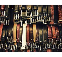 Belts at a Florence bazaar Photographic Print