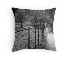 a dark cold footpath in nottingham Throw Pillow