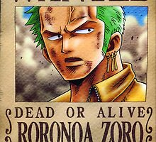 WANTED ! Roronoa Zoro - posters, cards... by Amyne