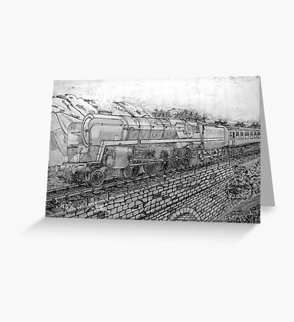 My pencil drawing of The Last of the British Rail Steam Locomotives Greeting Card