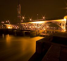 Tees barrage bridge at night by Stuart Brown