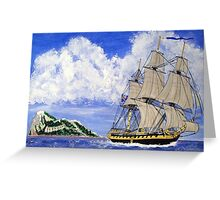 HMS Boreas Leaving Gibraltar - Capt Horatio Nelson - all products except duvet Greeting Card