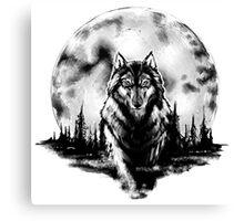 Wolf - Moon Canvas Print