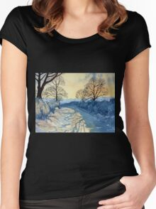 Winter Walk on Wykeham Road Women's Fitted Scoop T-Shirt