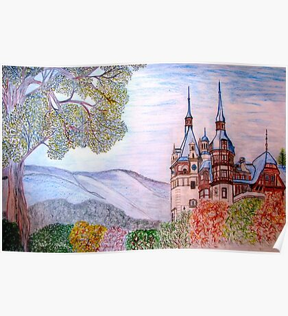 My coloured pencil drawing of Peles Castle, Prahova County, Romania Poster