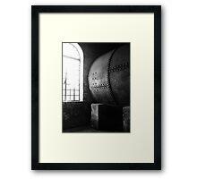 Aged Metal Barrel Framed Print