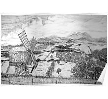 Traditional Romanian Windmill with a View, Barda Village - all products bar duvet Poster