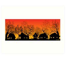 sunset village Art Print