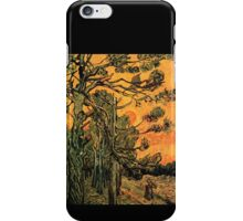 'Pine Trees Against A Red Sky with a Setting Sun' by Vincent Van Gogh (Reproduction) iPhone Case/Skin