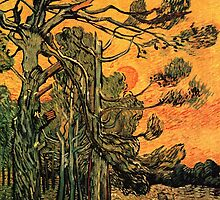 'Pine Trees Against A Red Sky with a Setting Sun' by Vincent Van Gogh (Reproduction) by Roz Abellera Art Gallery