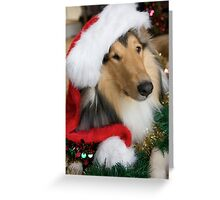 Christmas Santa Rough Collie Greeting Card