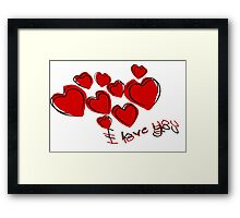 I Love You Greeting Card With Hearts Framed Print