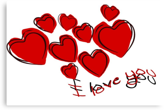 I Love You Greeting Card With Hearts by taiche