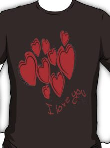 I Love You Greeting Card With Hearts T-Shirt