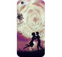 Couple silhouette and rose in the sky iPhone Case/Skin
