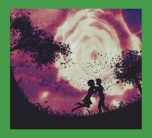 Couple silhouette and rose in the sky Kids Clothes