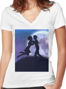 Couple silhouette in the night Women's Fitted V-Neck T-Shirt